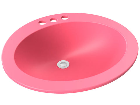 berry pink round drop-in bathroom sink