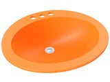 orange round drop-in bathroom sink