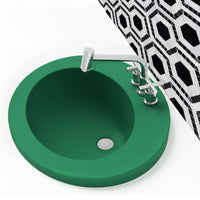 green drop-in bathroom sink