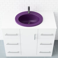 purple rounded drop-in bathroom sink