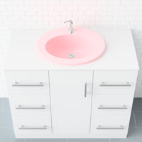 pink rounded drop-in bathroom sink