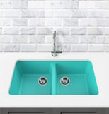 "Double Bowl Undermount Kitchen Sink, 34"" - Bobby in Breakfast at Tiffany's / Teal"