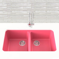 berry pink double basin kitchen sink