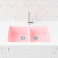 blush pink double basin kitchen sink