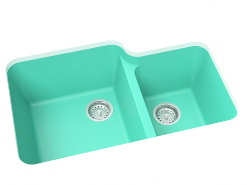 teal double basin kitchen sink