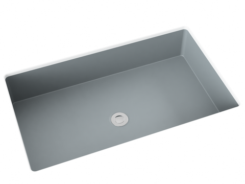 grey silver cement undermount bathroom sink