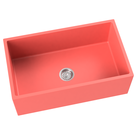coral farmhouse kitchen sink