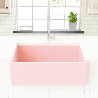blush pink farmhouse kitchen sink