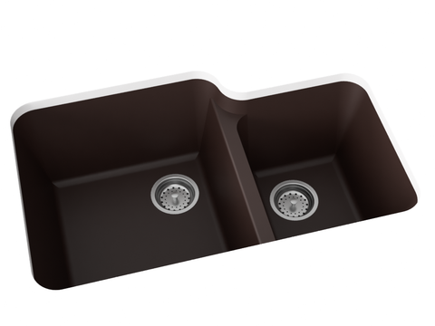 brown double basin kitchen sink