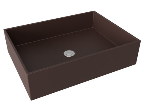 brown flat bottom vessel bathroom sink