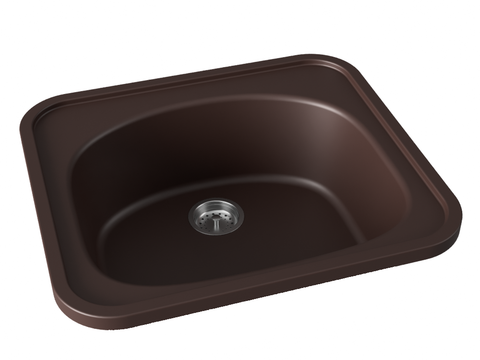 dark brown chocolate drop-in kitchen bar sink
