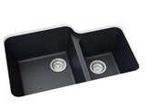 navy blue double basin kitchen sink