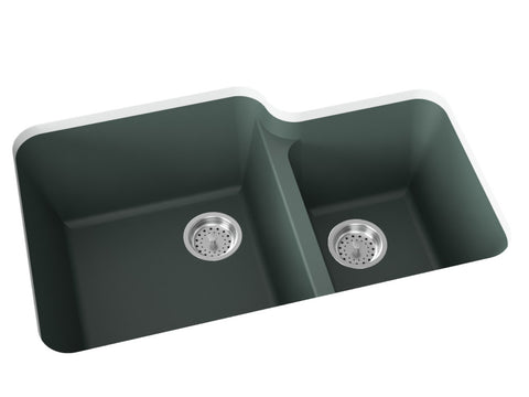 forest green double basin kitchen sink