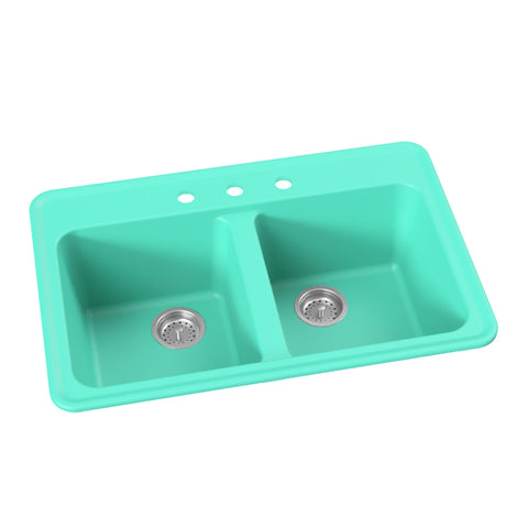 "Double Bowl Drop-In Retro Kitchen Sink, 33"" - Harry in Breakfast at Tiffany's / Teal"
