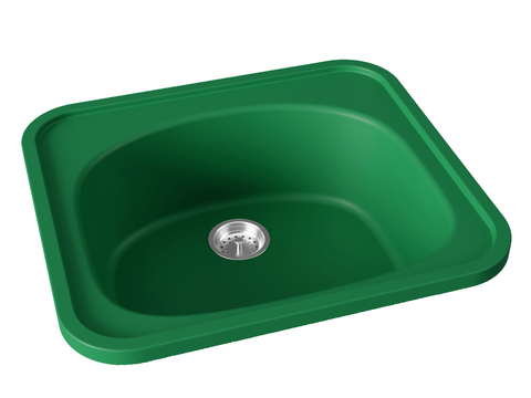 green drop-in kitchen bar sink