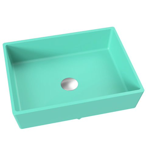 "Rectangular Vessel or Wallmount Bathroom Sink, 17"" - Kika in Breakfast at Tiffany's / Teal"