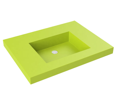 green flat bottom wallmount bathroom sink