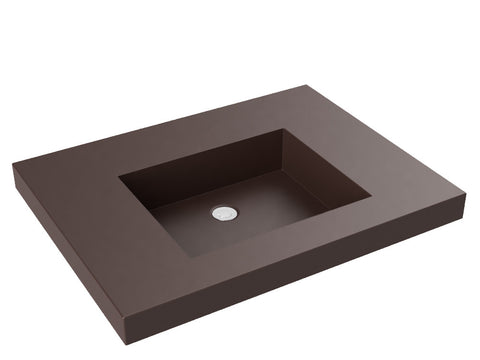 brown flat bottom wallmount bathroom sink
