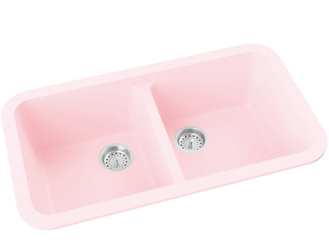 blush pink double basin drop-in kitchen sink
