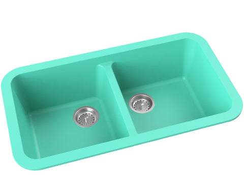 teal blue double basin drop-in kitchen sink