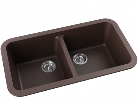 brown double basin drop-in kitchen sink