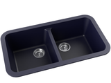 navy blue double basin drop-in kitchen sink