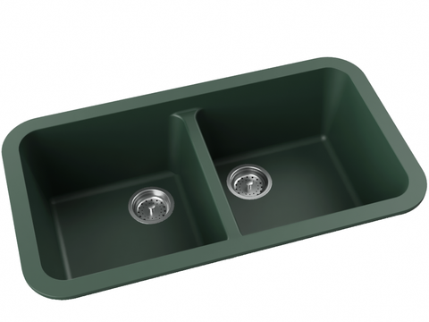 forest green double basin drop-in kitchen sink