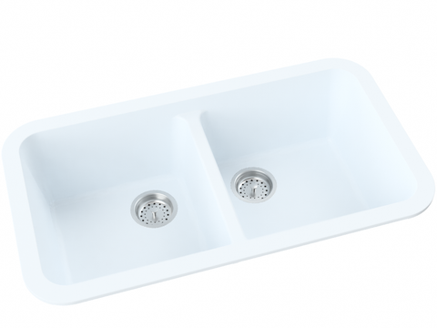 blue grey double basin drop-in kitchen sink