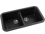 midnight black double basin drop-in kitchen sink