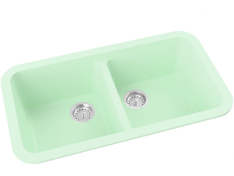 mint green double basin drop-in kitchen sink