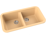 mocha tan double basin drop-in kitchen sink