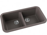 grey brown double basin drop-in kitchen sink