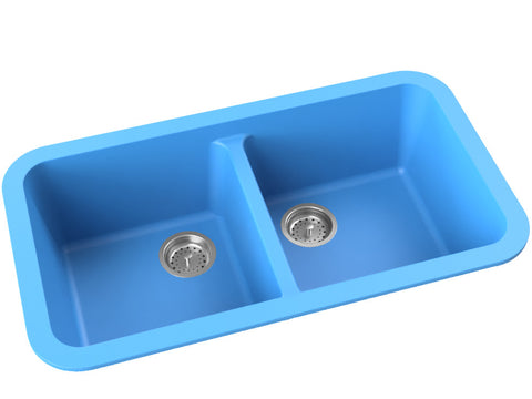 sky-blue blue double basin drop-in kitchen sink