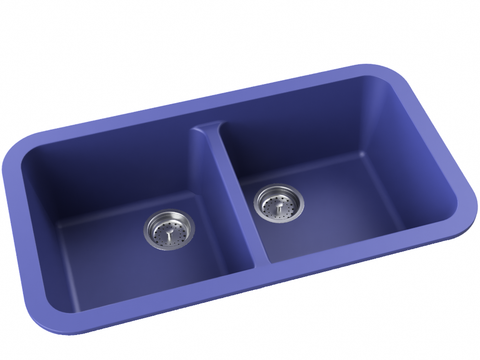 cobalt blue double basin drop-in kitchen sink