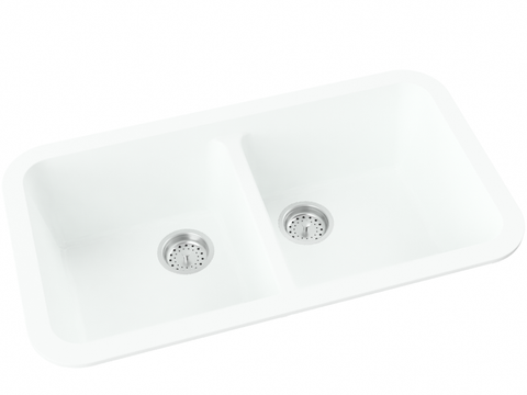 white double basin drop-in kitchen sink