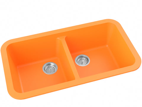 orange double basin drop-in kitchen sink