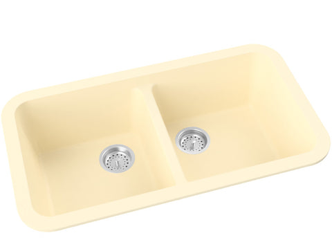 off-white cream double basin drop-in kitchen sink