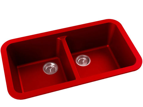 red double basin drop-in kitchen sink
