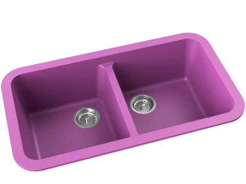 purple pink double basin drop-in kitchen sink