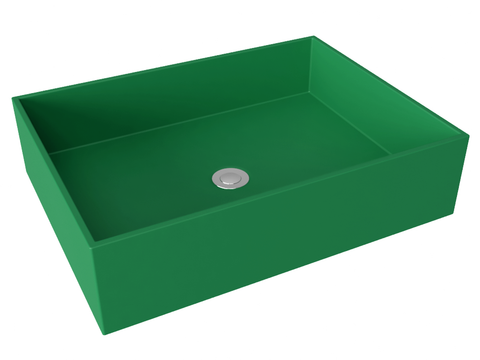 green flat bottom vessel bathroom sink