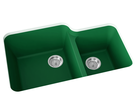green double basin kitchen sink