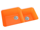 orange double basin kitchen sink