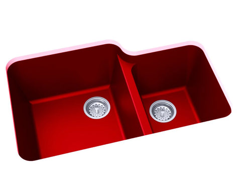 red double basin kitchen sink
