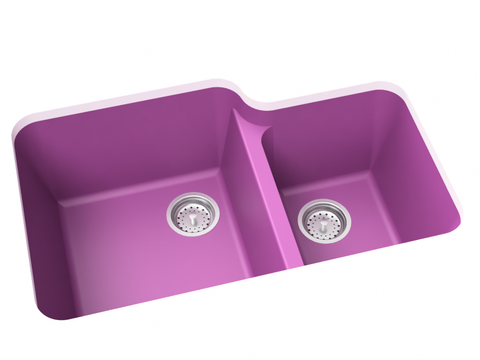 purple pink double basin kitchen sink
