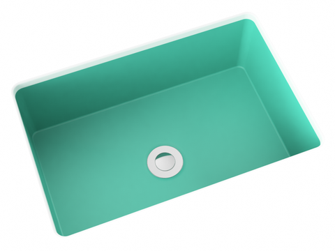 teal blue flat bottom undermount bathroom sink