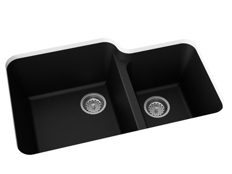 midnight black double basin kitchen sink