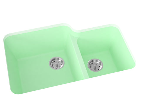 mint green double basin kitchen sink