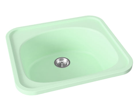 mint green drop-in kitchen bar sink