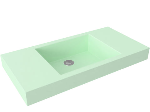 mint green flat bottom vessel bathroom sink