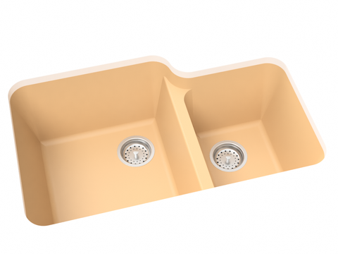 mocha tan double basin kitchen sink